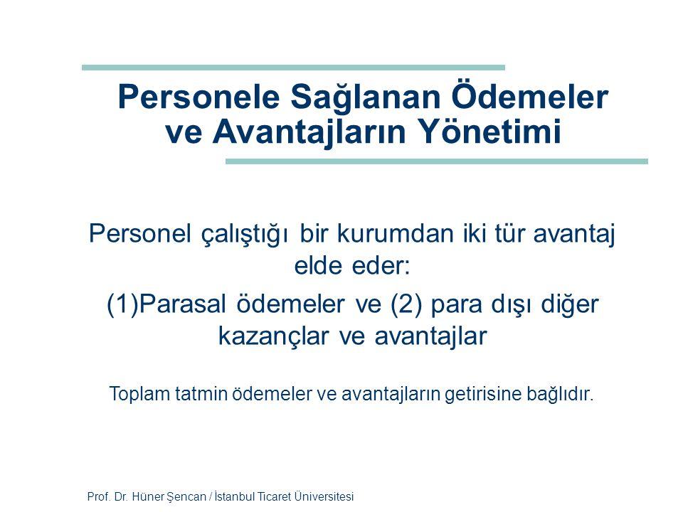 Prof. Dr. Hüner Şencan / İstanbul Ticaret Üniversitesi Personele Sağlanan Ödemeler ve Avantajların Yönetimi Personel çalıştığı bir kurumdan iki tür av