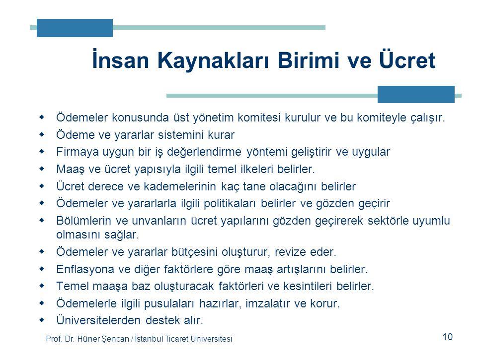 Prof. Dr. Hüner Şencan / İstanbul Ticaret Üniversitesi  Ödemeler konusunda üst yönetim komitesi kurulur ve bu komiteyle çalışır.  Ödeme ve yararlar