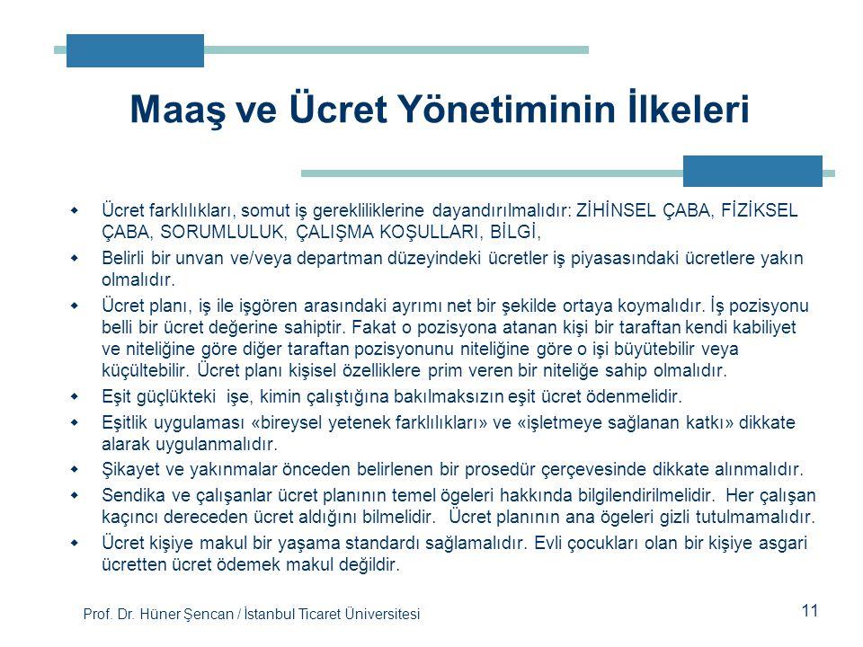 Prof. Dr. Hüner Şencan / İstanbul Ticaret Üniversitesi 11  Ücret farklılıkları, somut iş gerekliliklerine dayandırılmalıdır: ZİHİNSEL ÇABA, FİZİKSEL