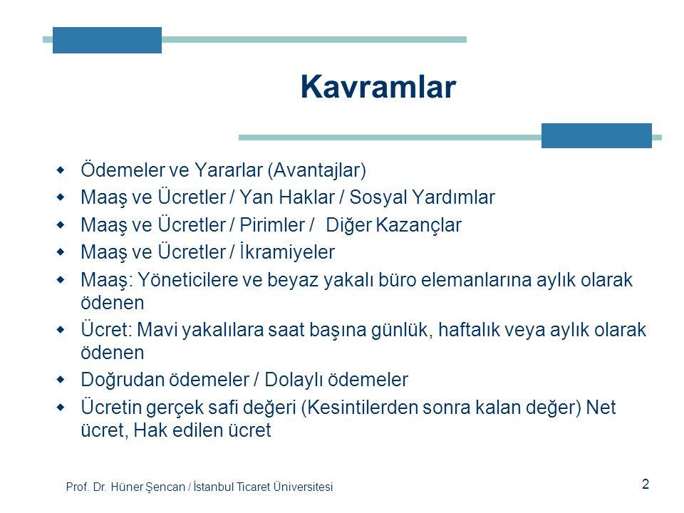 Prof. Dr. Hüner Şencan / İstanbul Ticaret Üniversitesi  Ödemeler ve Yararlar (Avantajlar)  Maaş ve Ücretler / Yan Haklar / Sosyal Yardımlar  Maaş v