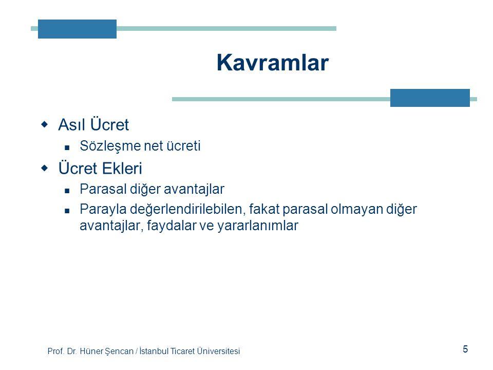 Prof. Dr. Hüner Şencan / İstanbul Ticaret Üniversitesi  Asıl Ücret Sözleşme net ücreti  Ücret Ekleri Parasal diğer avantajlar Parayla değerlendirile