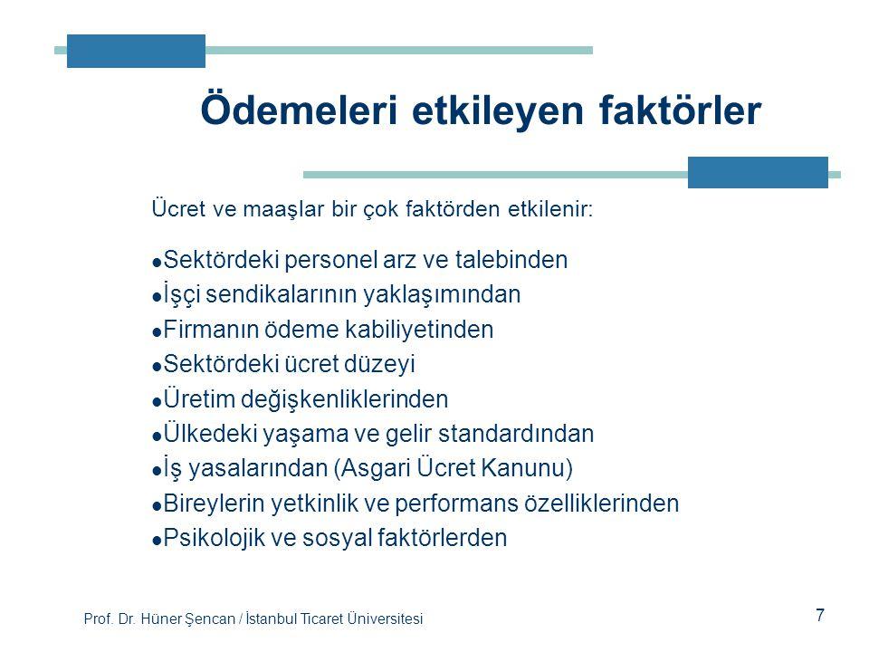 Prof. Dr. Hüner Şencan / İstanbul Ticaret Üniversitesi 7 Ücret ve maaşlar bir çok faktörden etkilenir: Sektördeki personel arz ve talebinden İşçi send