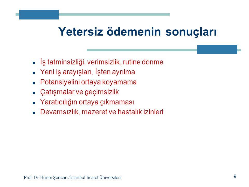 Prof. Dr. Hüner Şencan / İstanbul Ticaret Üniversitesi 9 İş tatminsizliği, verimsizlik, rutine dönme Yeni iş arayışları, İşten ayrılma Potansiyelini o