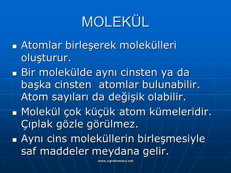 www.ogretmenevi.net MOLEKÜL Atomlar birleşerek molekülleri oluşturur.