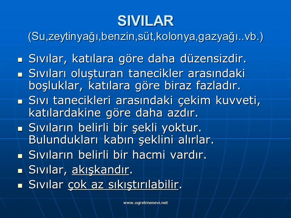 www.ogretmenevi.net SIVILAR (Su,zeytinyağı,benzin,süt,kolonya,gazyağı..vb.) Sıvılar, katılara göre daha düzensizdir.