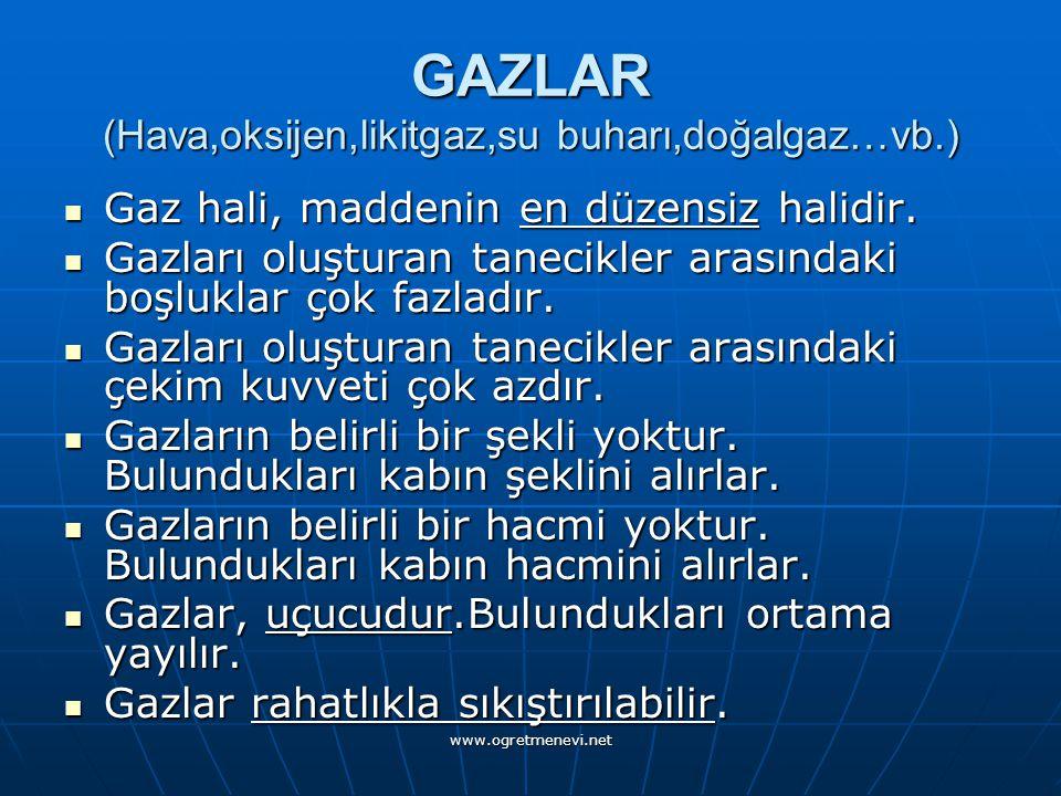 www.ogretmenevi.net GAZLAR (Hava,oksijen,likitgaz,su buharı,doğalgaz…vb.) Gaz hali, maddenin en düzensiz halidir.