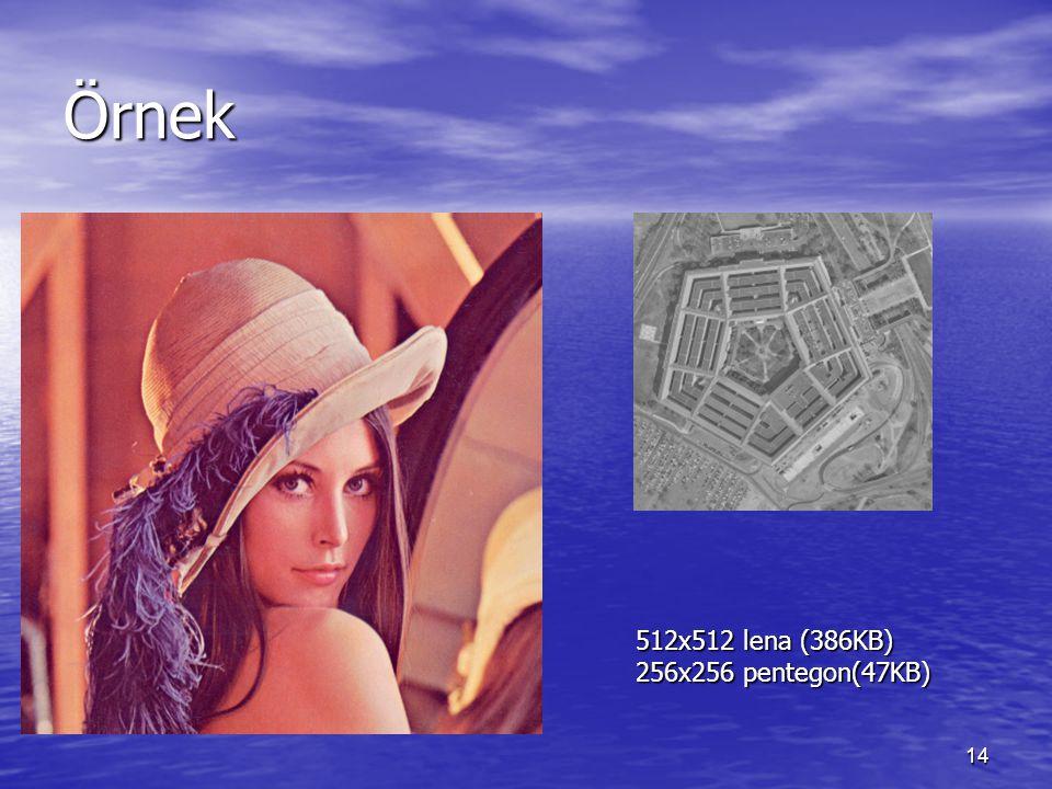 14 Örnek 512x512 lena (386KB) 256x256 pentegon(47KB)