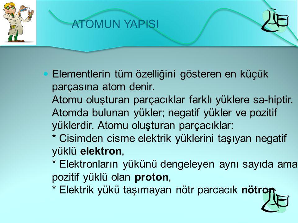 Atom iki kısımdan oluşur 1-Çekirdek (merkez) : Çekirdek, hacim olarak küçük olmasına karşın, atomun tüm kütlesini oluşturur.