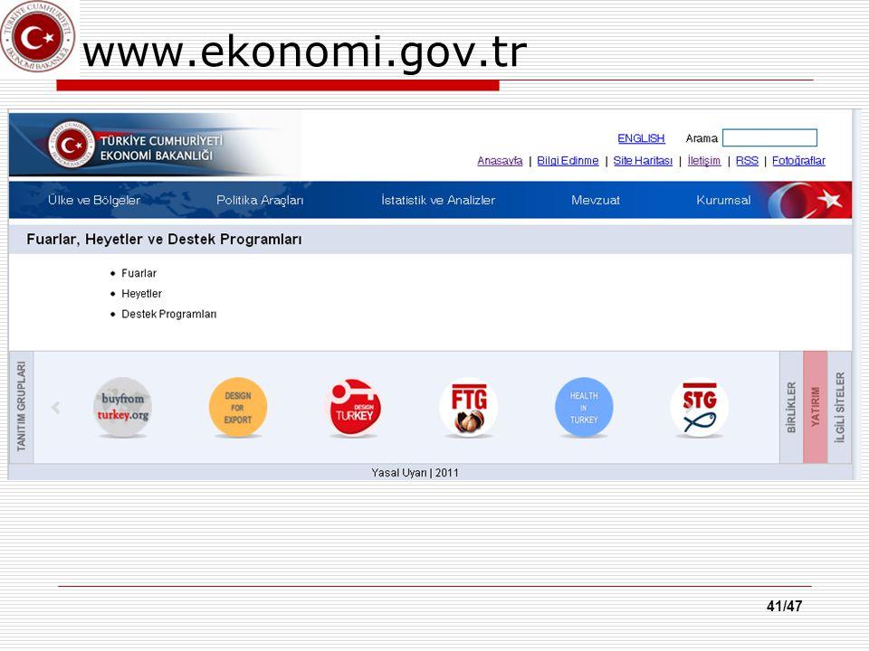 41/47 www.ekonomi.gov.tr