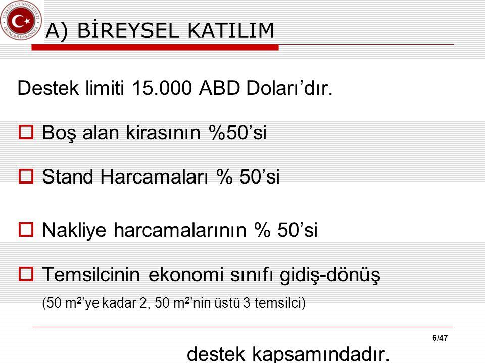 7/47 B) YURT DIŞI FUAR ORGANİZASYONLARI Milli Katılım: Türk firmalarının, yurtdışındaki bir fuara görevlendirilen organizatör ile yaptığı toplu katılım, Türk İhraç Ürünleri Fuarı:Görevlendirilen organizatörlerce Türk ihraç ürünlerinin tanıtımı amacıyla düzenlenen yurt dışı fuarlar, Sektörel Türk İhraç Ürünleri Fuarı: Görevlendirilen organizatörlerce Türk ihraç ürünlerinin tanıtımı amacıyla düzenlenen sektörel yurt dışı fuarlar, Yabancı Firma Katılımlı Sektörel Fuar: Görevli organizatörlerce düzenlenen ve yabancı firmaların da katıldığı sektörel yurt dışı fuarlardır.
