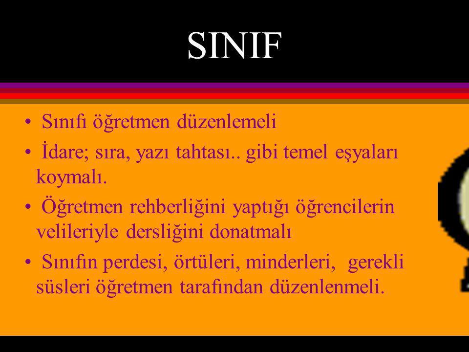 SINIF Sınıfı öğretmen düzenlemeli İdare; sıra, yazı tahtası..
