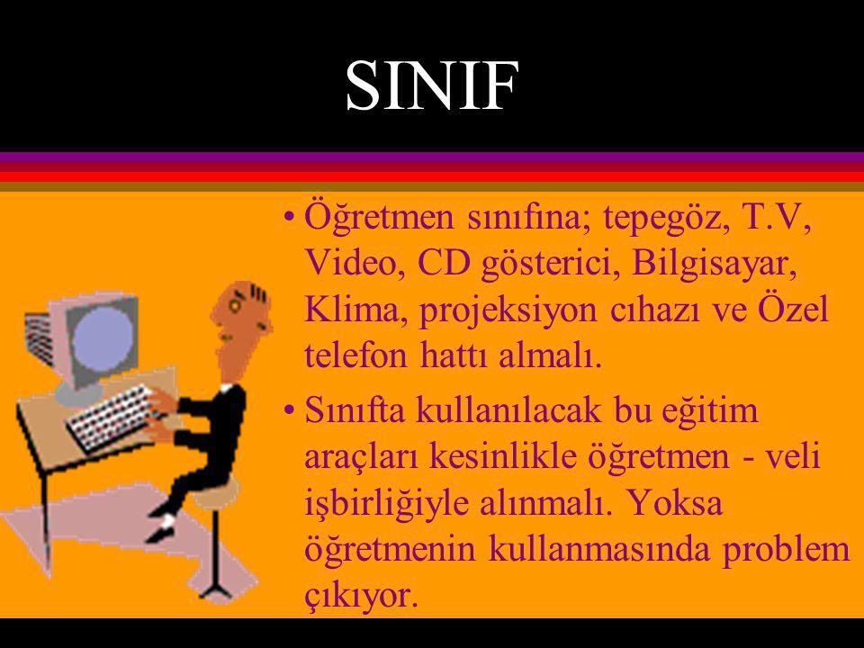 SINIF Öğretmen sınıfına; tepegöz, T.V, Video, CD gösterici, Bilgisayar, Klima, projeksiyon cıhazı ve Özel telefon hattı almalı.
