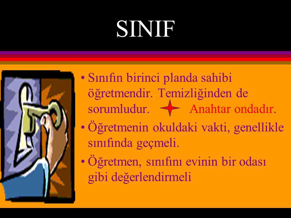 SINIF Sınıfın birinci planda sahibi öğretmendir.Temizliğinden de sorumludur.