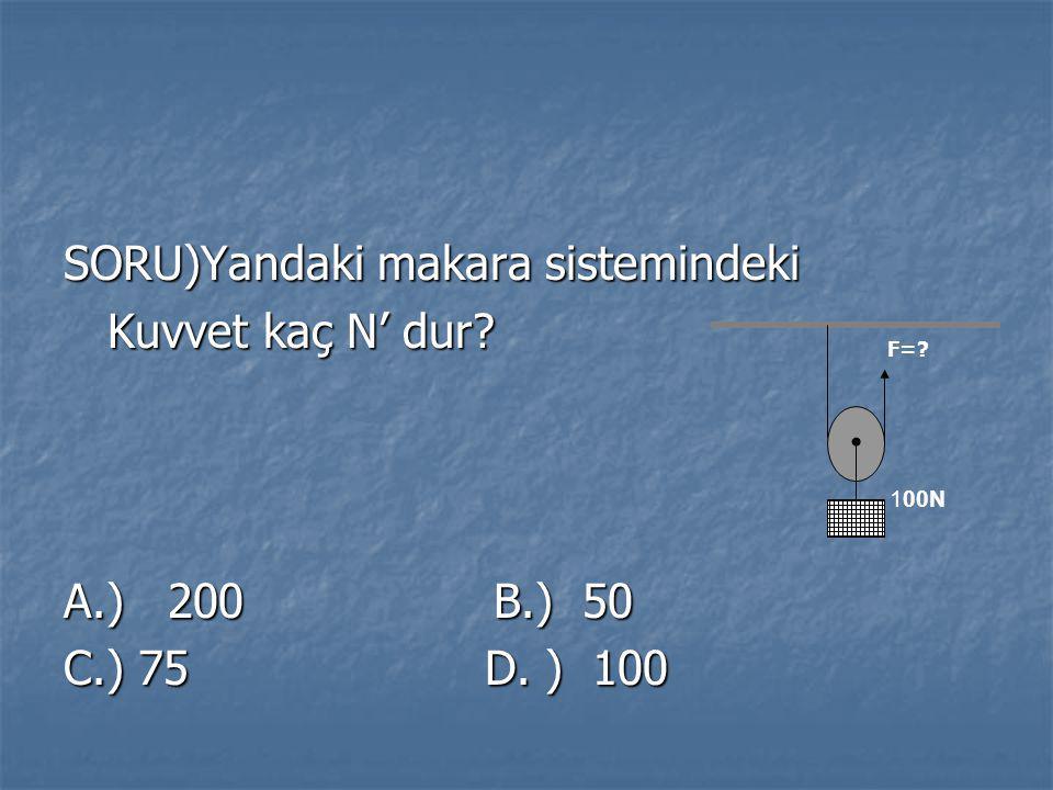 SORU)Yandaki makara sistemindeki Kuvvet kaç N' dur? Kuvvet kaç N' dur? A.) 200 B.) 50 C.) 75 D. ) 100 100N F=?