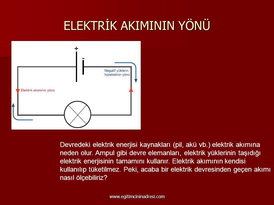 ELEKTRİK AKIMININ YÖNÜ Devredeki elektrik enerjisi kaynakları (pil, akü vb.) elektrik akımına neden olur. Ampul gibi devre elemanları, elektrik yükler