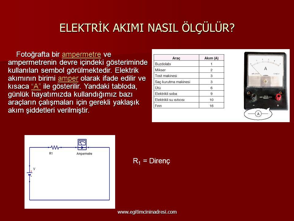 ELEKTRİK AKIMI NASIL ÖLÇÜLÜR? Fotoğrafta bir ampermetre ve ampermetrenin devre içindeki gösteriminde kullanılan sembol görülmektedir. Elektrik akımını