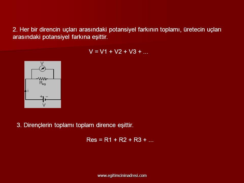 2. Her bir direncin uçları arasındaki potansiyel farkının toplamı, üretecin uçları arasındaki potansiyel farkına eşittir. V = V1 + V2 + V3 +... 3. Dir
