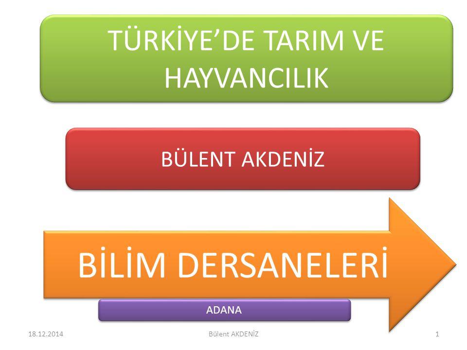 TÜRKİYE'DE TARIM VE HAYVANCILIK BÜLENT AKDENİZ BİLİM DERSANELERİ ADANA 18.12.20141Bülent AKDENİZ