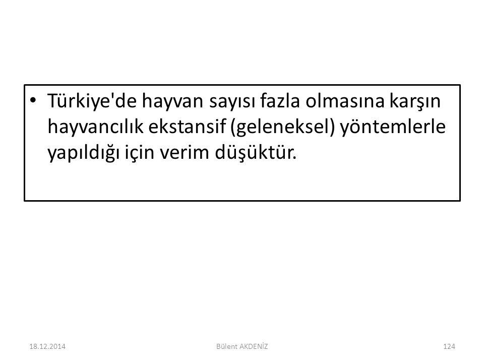 Türkiye'de hayvan sayısı fazla olmasına karşın hayvancılık ekstansif (geleneksel) yöntemlerle yapıldığı için verim düşüktür. 18.12.2014124Bülent AKDEN