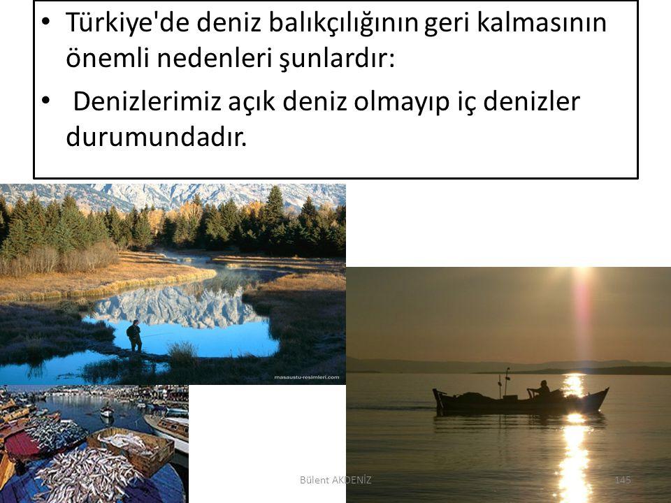 Türkiye'de deniz balıkçılığının geri kalmasının önemli nedenleri şunlardır: Denizlerimiz açık deniz olmayıp iç denizler durumundadır. 18.12.2014145Bül