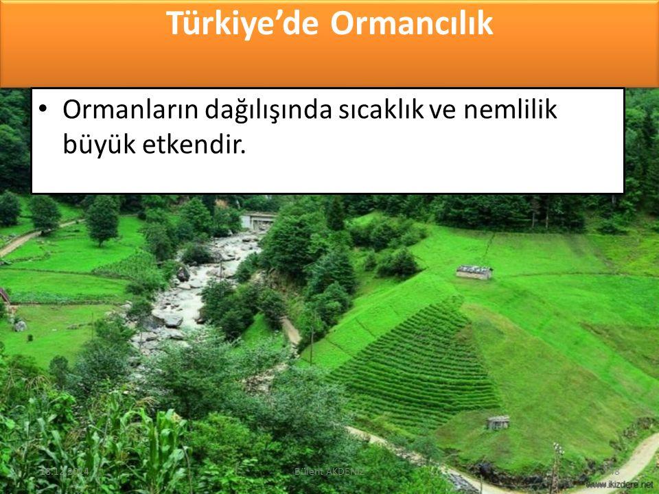 Türkiye'de Ormancılık Ormanların dağılışında sıcaklık ve nemlilik büyük etkendir. 18.12.2014148Bülent AKDENİZ
