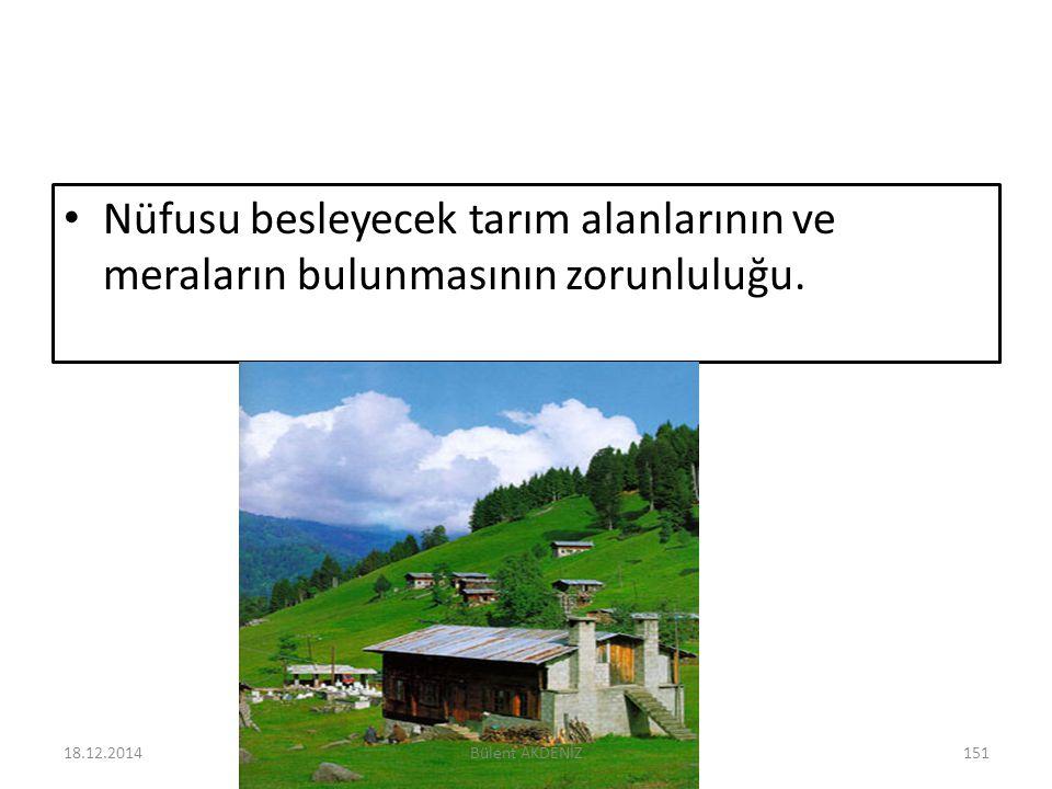 Nüfusu besleyecek tarım alanlarının ve meraların bulunmasının zorunluluğu. 18.12.2014151Bülent AKDENİZ