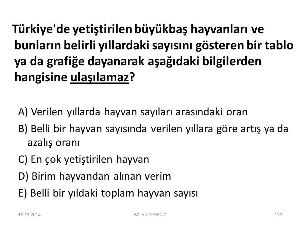 Türkiye'de yetiştirilen büyükbaş hayvanları ve bunların belirli yıllardaki sayısını gösteren bir tablo ya da grafiğe dayanarak aşağıdaki bilgilerden h