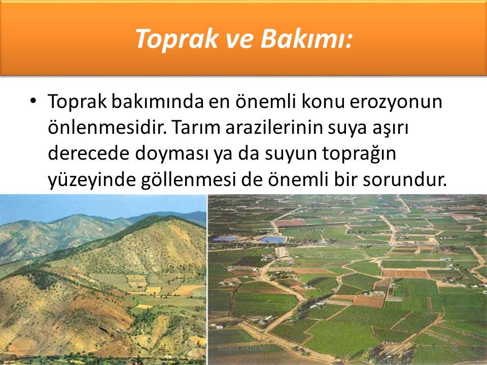 Toprak ve Bakımı: Toprak bakımında en önemli konu erozyonun önlenmesidir. Tarım arazilerinin suya aşırı derecede doyması ya da suyun toprağın yüzeyind