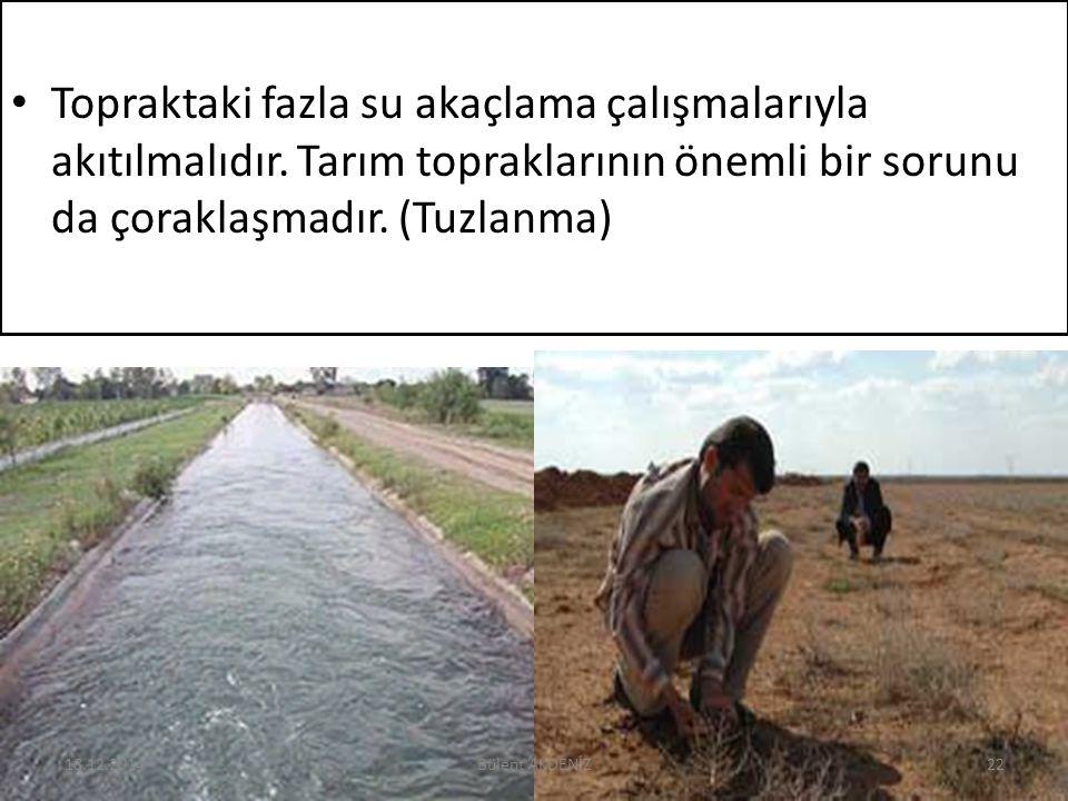 Topraktaki fazla su akaçlama çalışmalarıyla akıtılmalıdır. Tarım topraklarının önemli bir sorunu da çoraklaşmadır. (Tuzlanma) 18.12.201422Bülent AKDEN