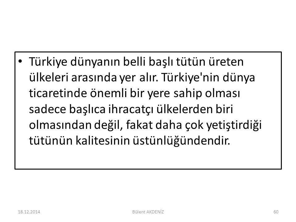 Türkiye dünyanın belli başlı tütün üreten ülkeleri arasında yer alır. Türkiye'nin dünya ticaretinde önemli bir yere sahip olması sadece başlıca ihraca