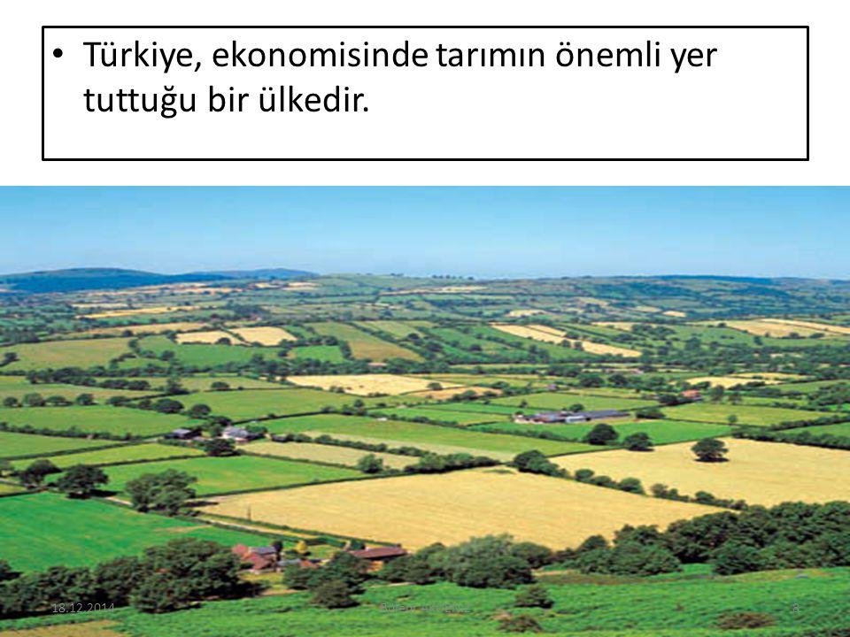 Türkiye, ekonomisinde tarımın önemli yer tuttuğu bir ülkedir. 18.12.20148Bülent AKDENİZ