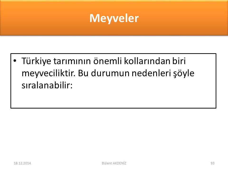 Meyveler Türkiye tarımının önemli kollarından biri meyveciliktir. Bu durumun nedenleri şöyle sıralanabilir: 18.12.201493Bülent AKDENİZ