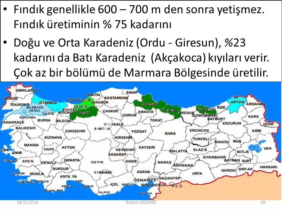 Fındık genellikle 600 – 700 m den sonra yetişmez. Fındık üretiminin % 75 kadarını Doğu ve Orta Karadeniz (Ordu - Giresun), %23 kadarını da Batı Karade