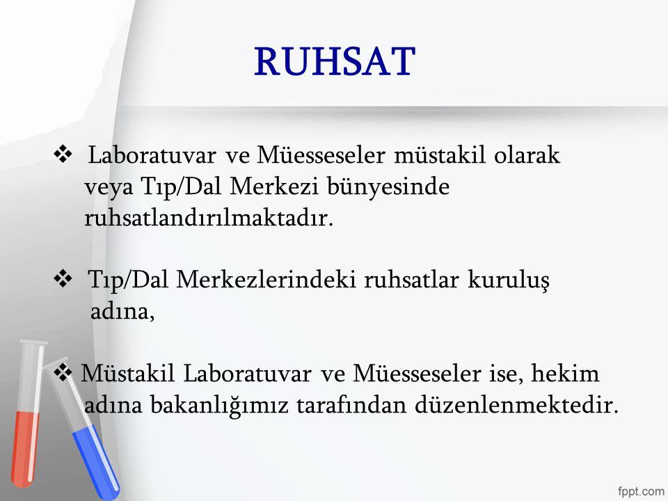 RUHSAT  Laboratuvar ve Müesseseler müstakil olarak veya Tıp/Dal Merkezi bünyesinde ruhsatlandırılmaktadır.