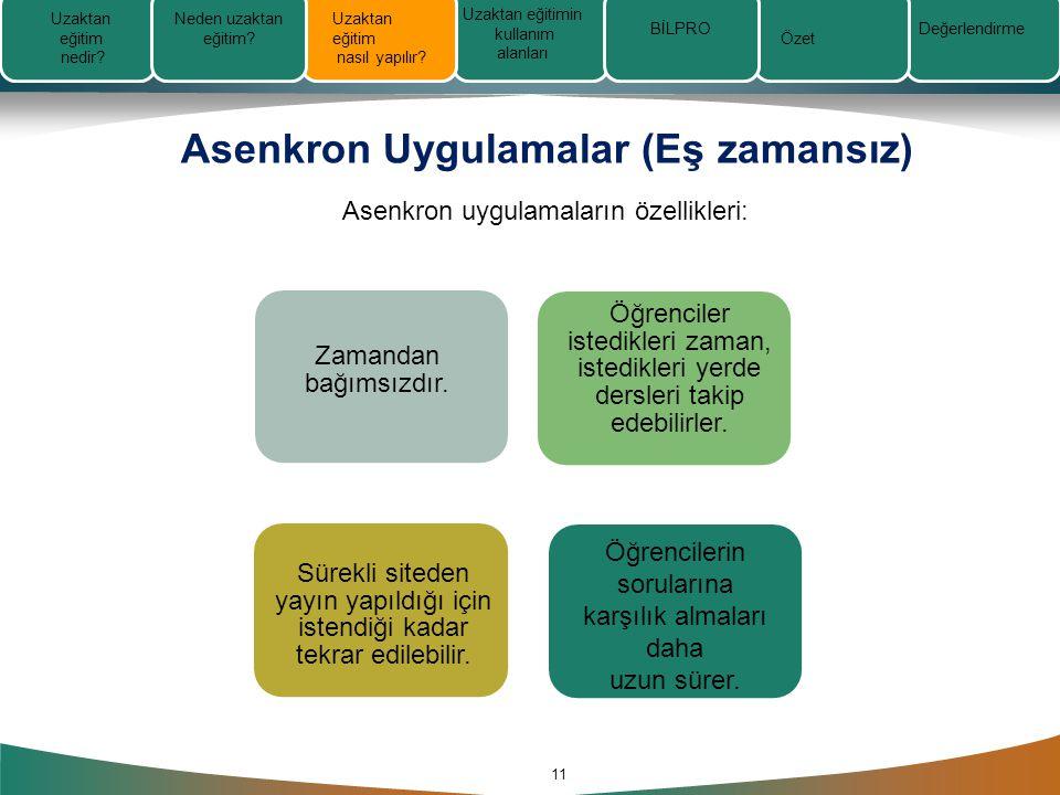 Asenkron Uygulamalar (Eş zamansız) 11 Asenkron uygulamaların özellikleri: Zamandan bağımsızdır.