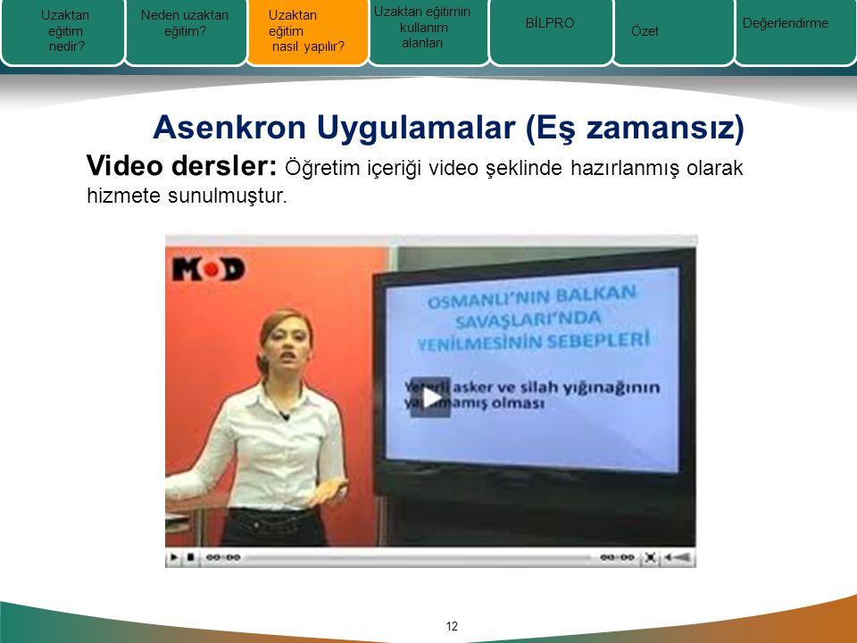 Asenkron Uygulamalar (Eş zamansız) 12 Video dersler: Öğretim içeriği video şeklinde hazırlanmış olarak hizmete sunulmuştur.