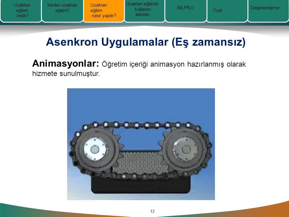 Asenkron Uygulamalar (Eş zamansız) 13 Animasyonlar: Öğretim içeriği animasyon hazırlanmış olarak hizmete sunulmuştur.