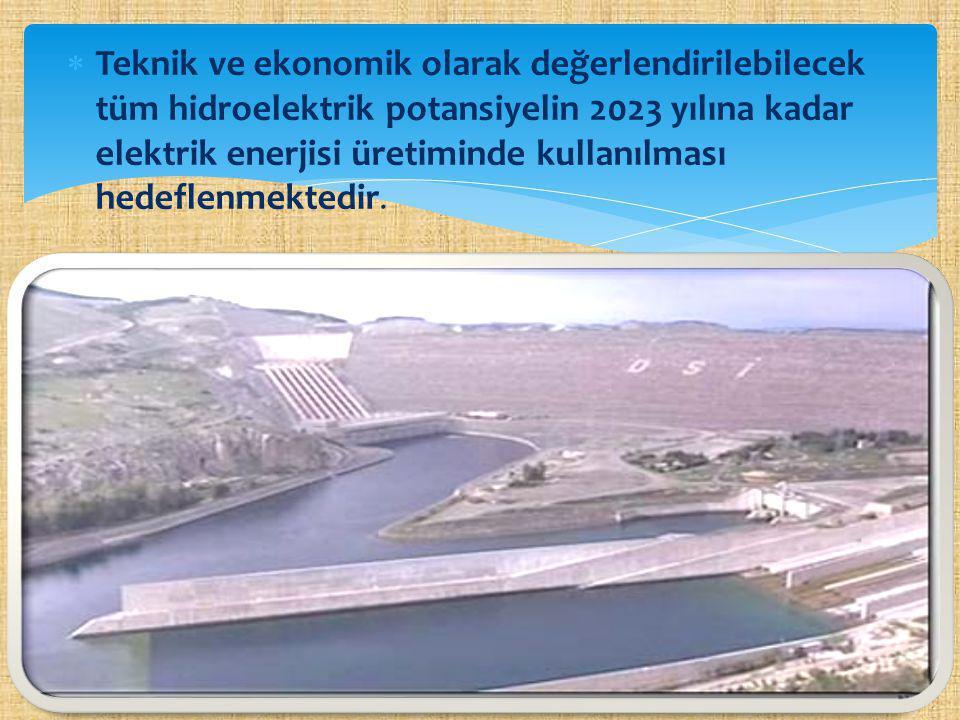  Teknik ve ekonomik olarak değerlendirilebilecek tüm hidroelektrik potansiyelin 2023 yılına kadar elektrik enerjisi üretiminde kullanılması hedeflenm
