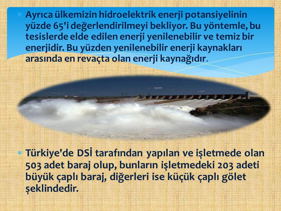  Atatürk Barajı Hidroelektrik santrali, 2405 MW,  Keban Barajı Hidroelektrik santrali, 1330 MW,  Karakaya Barajı Hidroelektrik santrali, 1800 MW,  Özlüce Barajı Hidroelektrik santrali, 200 MW,  Gökçekaya Barajı Hidroelektrik santrali, 278 MW,  Obruk Barajı Hidroelektrik santrali, 203 MW, Türkiye deki Önemli Hidroelektrik Santraller