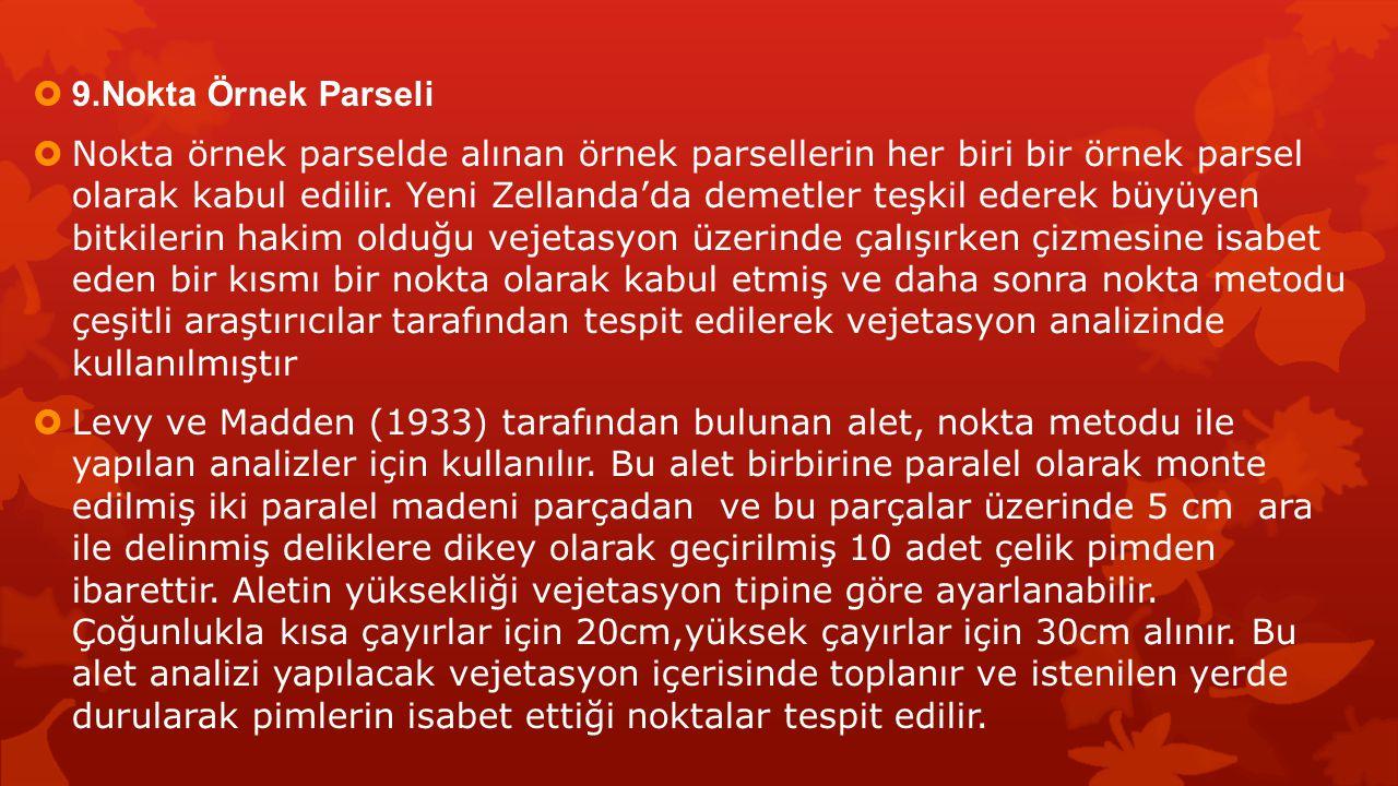  9.Nokta Örnek Parseli  Nokta örnek parselde alınan örnek parsellerin her biri bir örnek parsel olarak kabul edilir. Yeni Zellanda'da demetler teşki