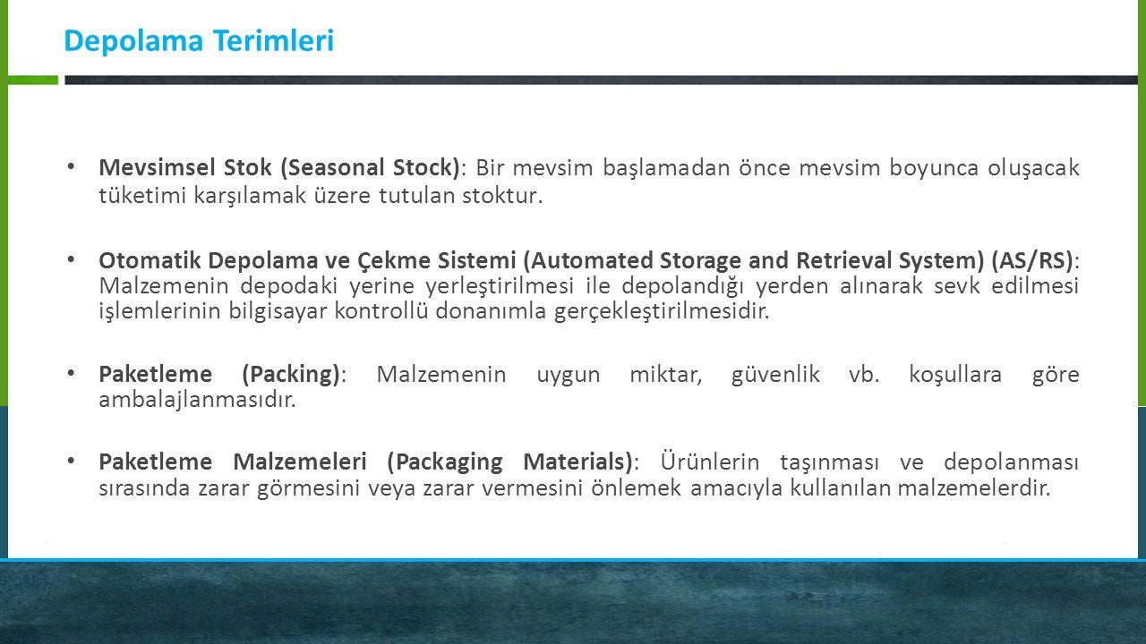 Depolama Terimleri Mevsimsel Stok (Seasonal Stock): Bir mevsim başlamadan önce mevsim boyunca oluşacak tüketimi karşılamak üzere tutulan stoktur. Otom