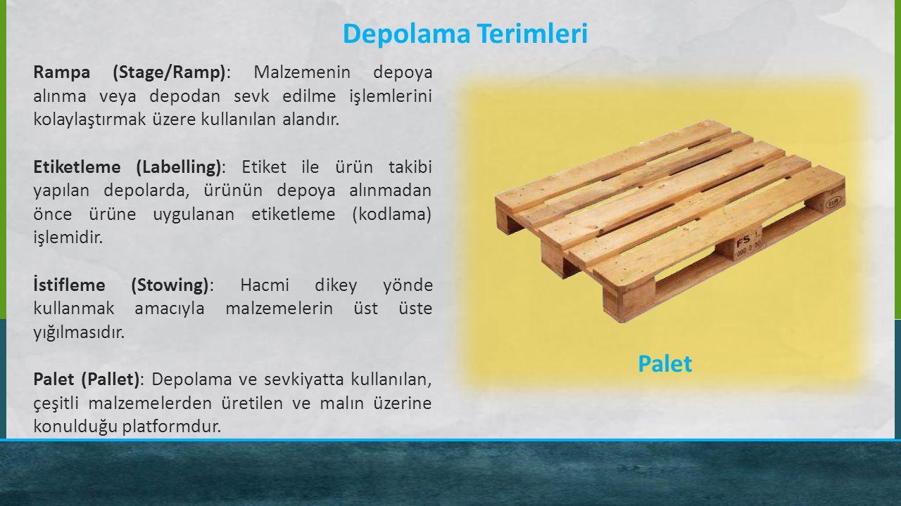 Depolama Terimleri Rampa (Stage/Ramp): Malzemenin depoya alınma veya depodan sevk edilme işlemlerini kolaylaştırmak üzere kullanılan alandır. Etiketle