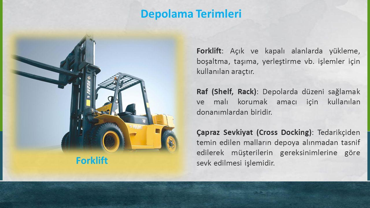 Depolama Terimleri Forklift: Açık ve kapalı alanlarda yükleme, boşaltma, taşıma, yerleştirme vb. işlemler için kullanılan araçtır. Raf (Shelf, Rack):