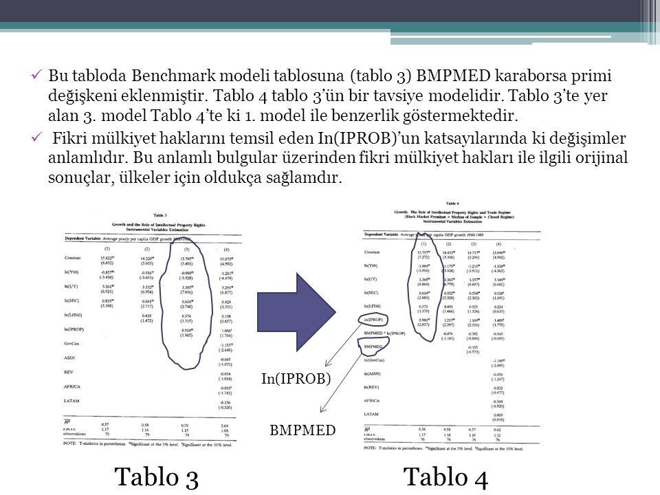 Bu tabloda Benchmark modeli tablosuna (tablo 3) BMPMED karaborsa primi değişkeni eklenmiştir. Tablo 4 tablo 3'ün bir tavsiye modelidir. Tablo 3'te yer