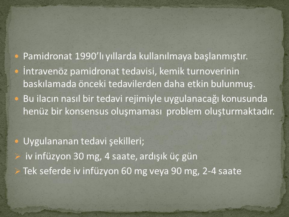 Pamidronat 1990'lı yıllarda kullanılmaya başlanmıştır.