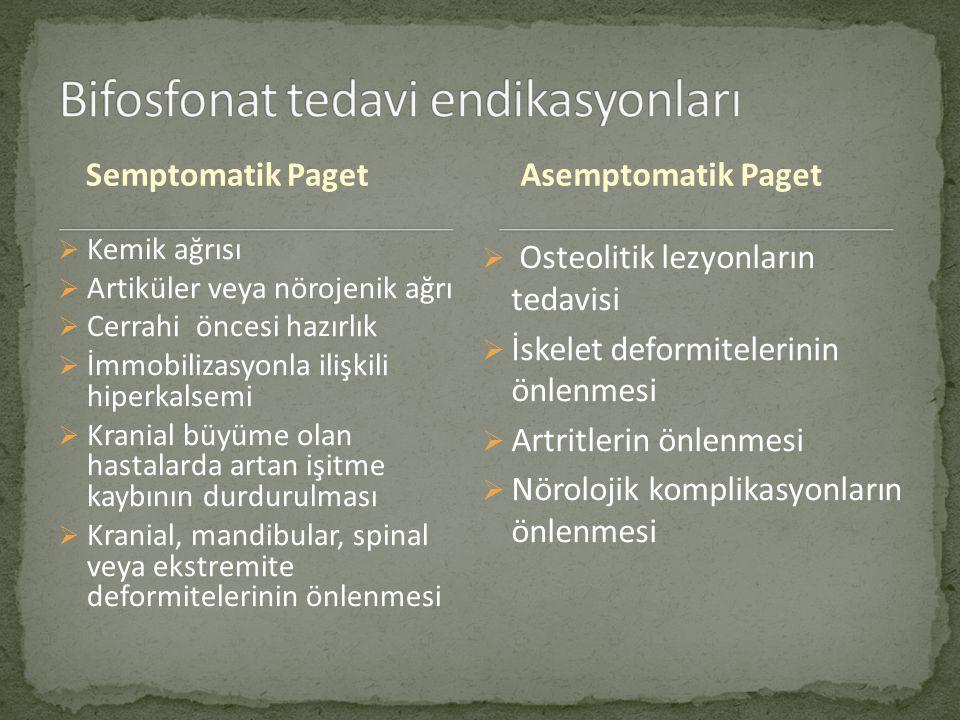 Semptomatik Paget  Kemik ağrısı  Artiküler veya nörojenik ağrı  Cerrahi öncesi hazırlık  İmmobilizasyonla ilişkili hiperkalsemi  Kranial büyüme olan hastalarda artan işitme kaybının durdurulması  Kranial, mandibular, spinal veya ekstremite deformitelerinin önlenmesi  Osteolitik lezyonların tedavisi  İskelet deformitelerinin önlenmesi  Artritlerin önlenmesi  Nörolojik komplikasyonların önlenmesi Asemptomatik Paget