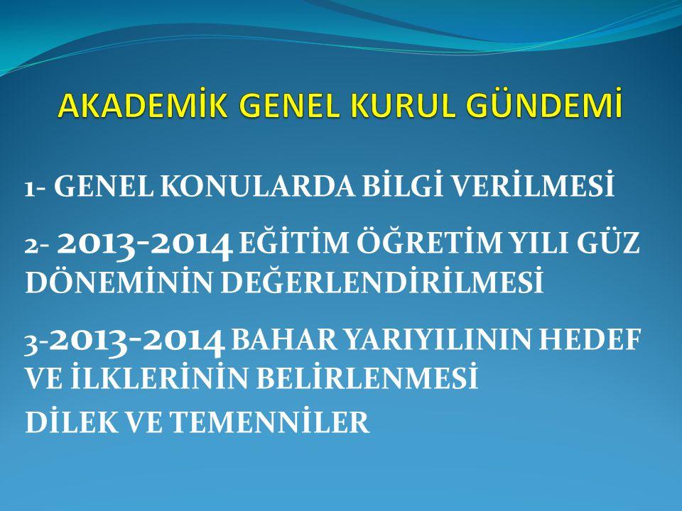 1- GENEL KONULARDA BİLGİ VERİLMESİ 2- 2013-2014 EĞİTİM ÖĞRETİM YILI GÜZ DÖNEMİNİN DEĞERLENDİRİLMESİ 3- 2013-2014 BAHAR YARIYILININ HEDEF VE İLKLERİNİN BELİRLENMESİ DİLEK VE TEMENNİLER