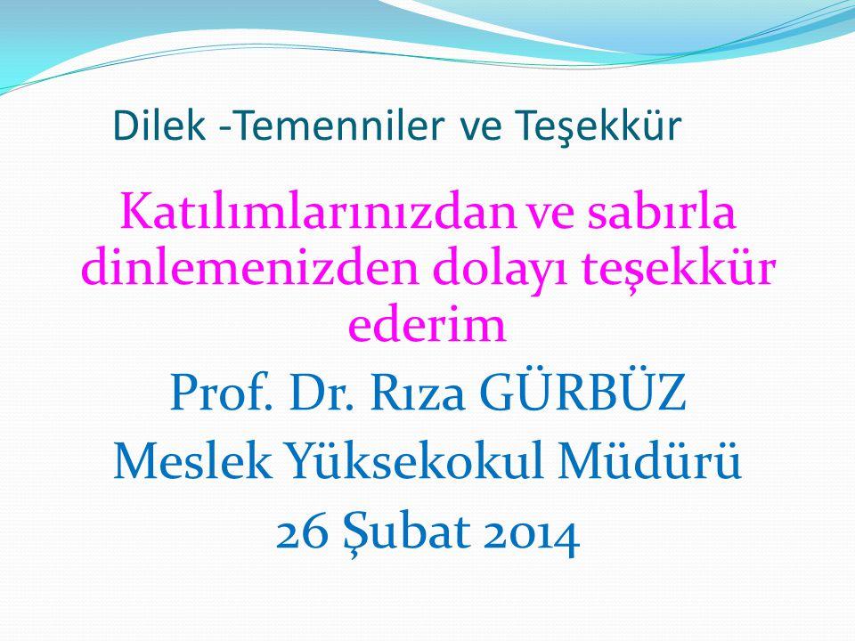 Dilek -Temenniler ve Teşekkür Katılımlarınızdan ve sabırla dinlemenizden dolayı teşekkür ederim Prof.