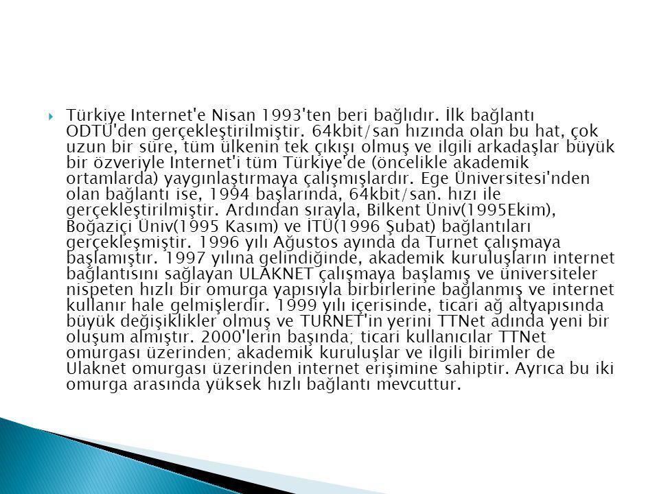  Türkiye Internet e Nisan 1993 ten beri bağlıdır.
