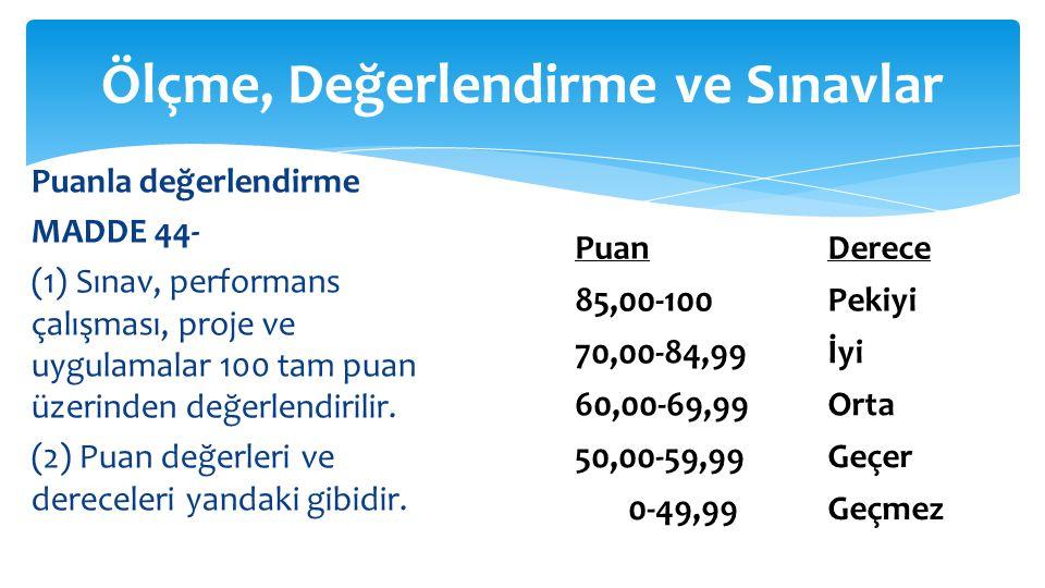 Puanla değerlendirme MADDE 44- (1) Sınav, performans çalışması, proje ve uygulamalar 100 tam puan üzerinden değerlendirilir.